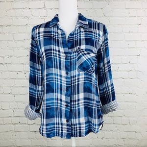 Cloth & Stone plaid double layered button shirt